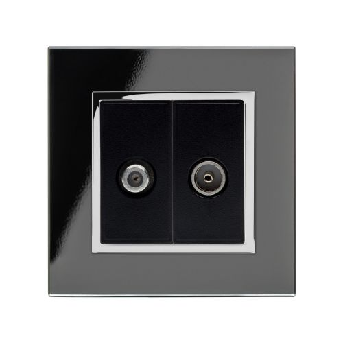 RetroTouch Crystal Satellite/TV Socket Black Glass CT 04848